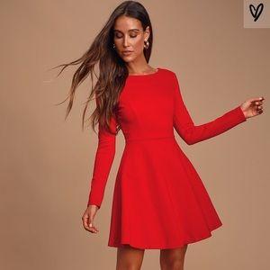 Lulu's Long Sleeve Red Skater Dress-Like New